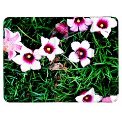 Pink Flowers Over A Green Grass Samsung Galaxy Tab 7  P1000 Flip Case