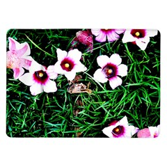 Pink Flowers Over A Green Grass Samsung Galaxy Tab 10 1  P7500 Flip Case