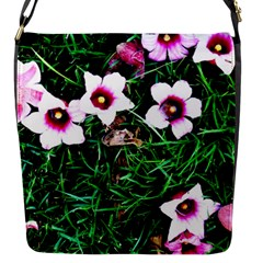 Pink Flowers Over A Green Grass Flap Messenger Bag (s)