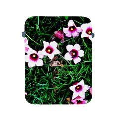 Pink Flowers Over A Green Grass Apple Ipad 2/3/4 Protective Soft Cases