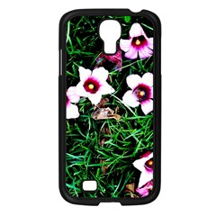 Pink Flowers Over A Green Grass Samsung Galaxy S4 I9500/ I9505 Case (black)