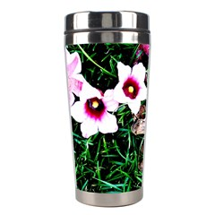 Pink Flowers Over A Green Grass Stainless Steel Travel Tumblers