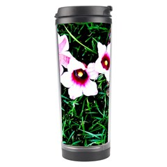 Pink Flowers Over A Green Grass Travel Tumbler