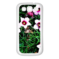 Pink Flowers Over A Green Grass Samsung Galaxy S3 Back Case (white) by DanaeStudio