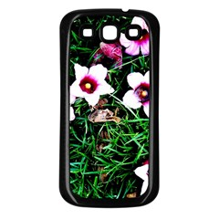 Pink Flowers Over A Green Grass Samsung Galaxy S3 Back Case (black)