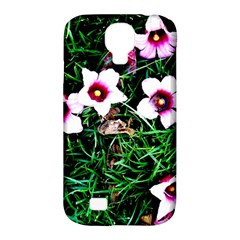 Pink Flowers Over A Green Grass Samsung Galaxy S4 Classic Hardshell Case (pc+silicone)