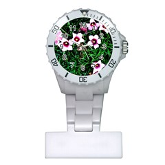Pink Flowers Over A Green Grass Plastic Nurses Watch