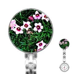 Pink Flowers Over A Green Grass Stainless Steel Nurses Watch