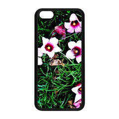 Pink Flowers Over A Green Grass Apple Iphone 5c Seamless Case (black)