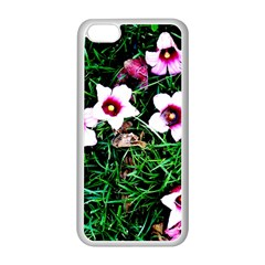 Pink Flowers Over A Green Grass Apple Iphone 5c Seamless Case (white)