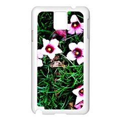 Pink Flowers Over A Green Grass Samsung Galaxy Note 3 N9005 Case (white)