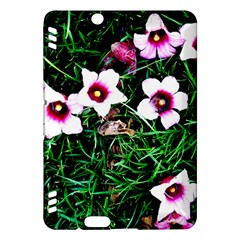 Pink Flowers Over A Green Grass Kindle Fire Hdx Hardshell Case by DanaeStudio
