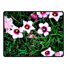 Pink Flowers Over A Green Grass Double Sided Fleece Blanket (small)