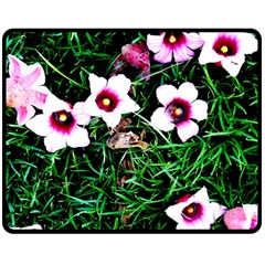 Pink Flowers Over A Green Grass Double Sided Fleece Blanket (medium)
