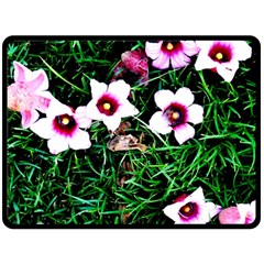 Pink Flowers Over A Green Grass Double Sided Fleece Blanket (large)  by DanaeStudio