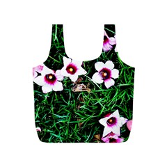 Pink Flowers Over A Green Grass Full Print Recycle Bags (s)