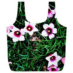 Pink Flowers Over A Green Grass Full Print Recycle Bags (l)