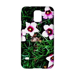 Pink Flowers Over A Green Grass Samsung Galaxy S5 Hardshell Case