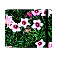Pink Flowers Over A Green Grass Samsung Galaxy Tab Pro 8 4  Flip Case