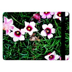 Pink Flowers Over A Green Grass Samsung Galaxy Tab Pro 12 2  Flip Case