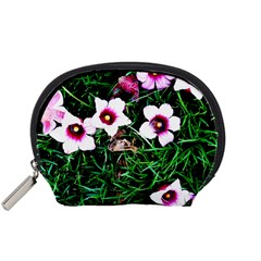Pink Flowers Over A Green Grass Accessory Pouches (small)