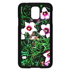 Pink Flowers Over A Green Grass Samsung Galaxy S5 Case (black)