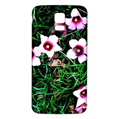 Pink Flowers Over A Green Grass Samsung Galaxy S5 Back Case (white)