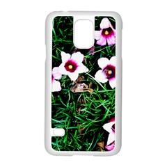 Pink Flowers Over A Green Grass Samsung Galaxy S5 Case (white)