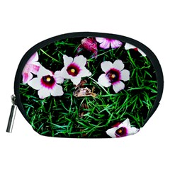 Pink Flowers Over A Green Grass Accessory Pouches (medium)