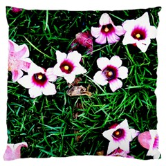 Pink Flowers Over A Green Grass Large Flano Cushion Case (one Side)