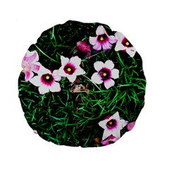 Pink Flowers Over A Green Grass Standard 15  Premium Flano Round Cushions by DanaeStudio