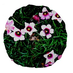 Pink Flowers Over A Green Grass Large 18  Premium Flano Round Cushions