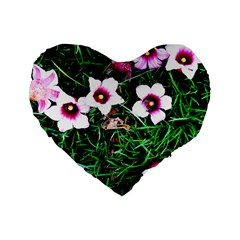 Pink Flowers Over A Green Grass Standard 16  Premium Flano Heart Shape Cushions