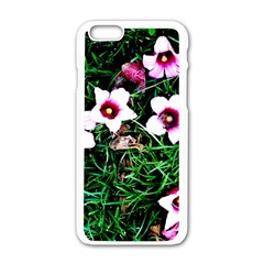 Pink Flowers Over A Green Grass Apple Iphone 6/6s White Enamel Case