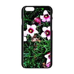 Pink Flowers Over A Green Grass Apple Iphone 6/6s Black Enamel Case