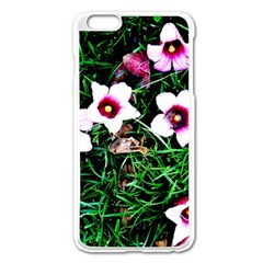 Pink Flowers Over A Green Grass Apple Iphone 6 Plus/6s Plus Enamel White Case