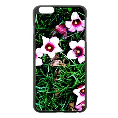 Pink Flowers Over A Green Grass Apple Iphone 6 Plus/6s Plus Black Enamel Case