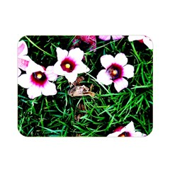 Pink Flowers Over A Green Grass Double Sided Flano Blanket (mini)  by DanaeStudio