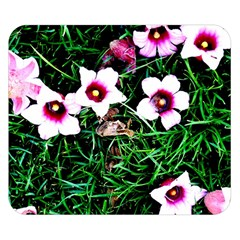Pink Flowers Over A Green Grass Double Sided Flano Blanket (small)