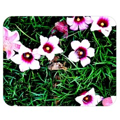 Pink Flowers Over A Green Grass Double Sided Flano Blanket (medium)