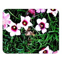 Pink Flowers Over A Green Grass Double Sided Flano Blanket (large)