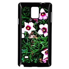 Pink Flowers Over A Green Grass Samsung Galaxy Note 4 Case (black)