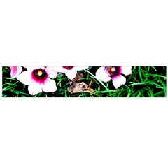 Pink Flowers Over A Green Grass Flano Scarf (large)