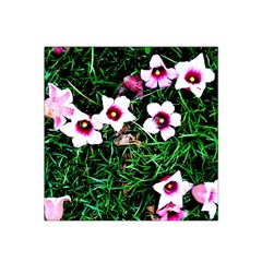 Pink Flowers Over A Green Grass Satin Bandana Scarf