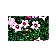 Pink Flowers Over A Green Grass Satin Wrap