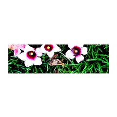 Pink Flowers Over A Green Grass Satin Scarf (oblong)