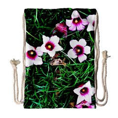 Pink Flowers Over A Green Grass Drawstring Bag (large)