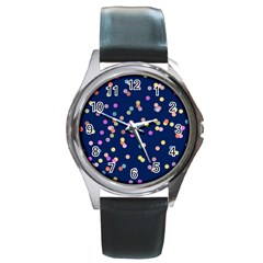 Playful Confetti Round Metal Watch by DanaeStudio