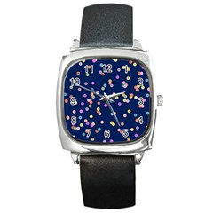 Playful Confetti Square Metal Watch by DanaeStudio