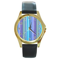 Provence Fields Lavender Pattern Round Gold Metal Watch